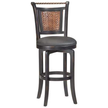 "Hillsdale Norwood Black Swivel 30 1/2"" High Bar Stool"