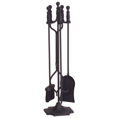 Black Sculpted Handle 4-Piece Fireplace Tool Set with Stand