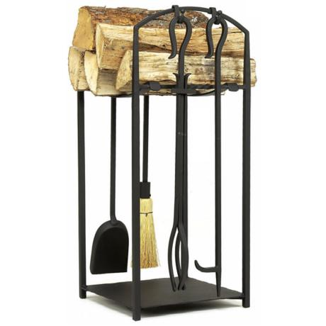 "Arch Black Finish 26"" High Log Stand and Tool Set"