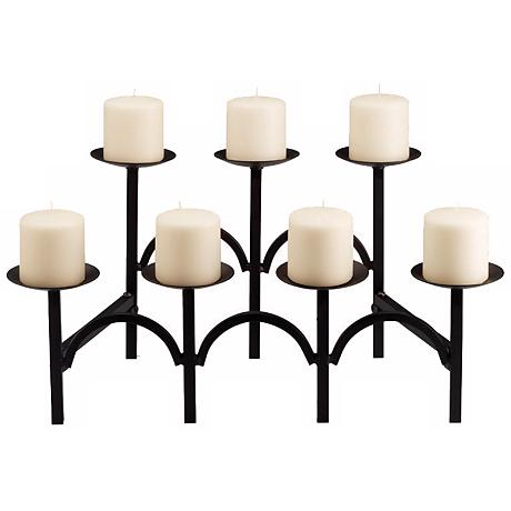 "Moseby Black 21 1/4"" Wide Hearth Candelabra Candle Holder"