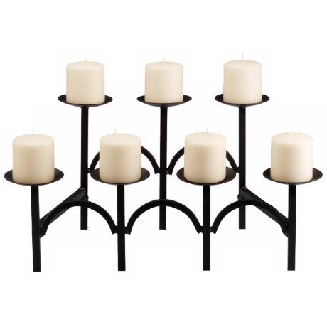 "Black Finish 21 1/4"" Wide Hearth Candelabra"