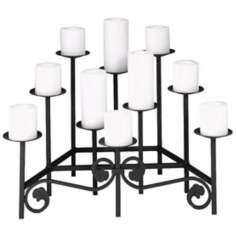 "Black Finish 24"" Wide Hearth Candelabra"