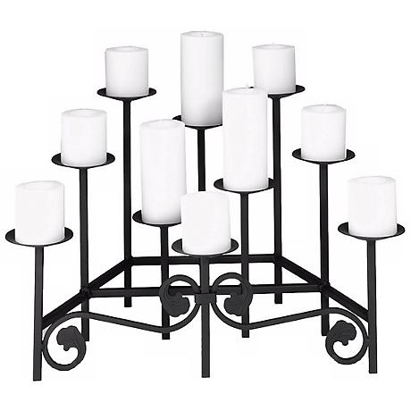 "Watson Black 24"" Wide Hearth Candelabra Pillar Candle Holder"