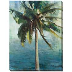 "Coconut Tree and Water Limited Edition 48"" High Wall Art"
