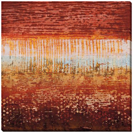 "Red Strata I Giclee Print Indoor/Outdoor 40"" Square Wall Art"