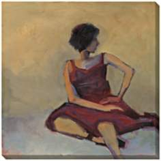 "Girl in Red Dress Limited Edition Giclee 40"" Square Wall Art"