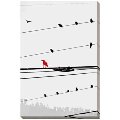 "Birds on a Wire I Giclee Indoor/Outdoor 48"" High Wall Art"