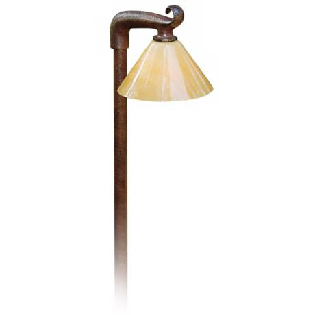 "Rust Brown Alabaster Acrylic Shade 21"" High Path Light"