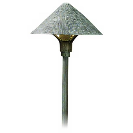 "Thatched Roof Shade Verde Finish 27"" High Path Light"