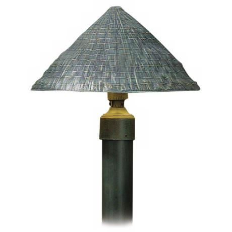 "Thatched Roof Shade Verde Finish 34"" High Path Light"