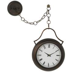 "Courtyard Bronze 16 1/2"" High Hanging Pendant Clock"