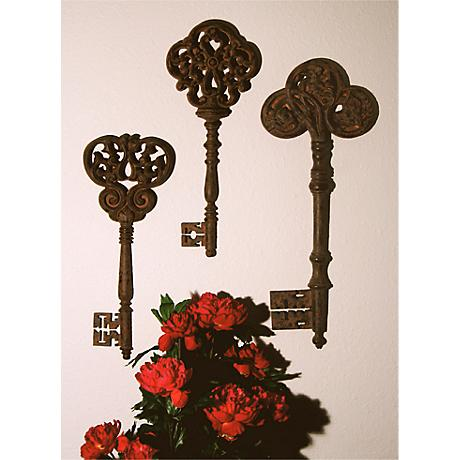 French Keys Set of 3 Wall Art Pieces