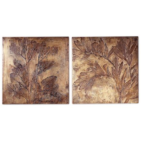 Set of 2 Large Square Botanicals Wall Art Plaques