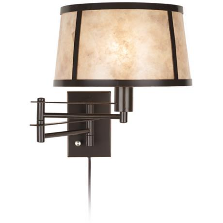 Natural Mica Plug-In Swing Arm Wall Lamp