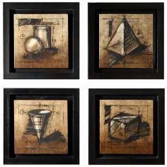 Set of 4 Sienna Shadowbox Wall Art Pieces