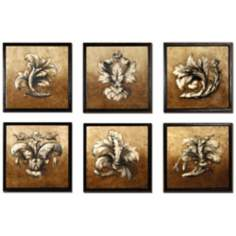 Set of 6 Sienna Framed Leaves Wall Art Pieces