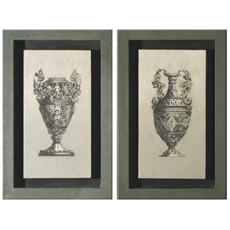 Gray Shadowboxed Urns Wall Art