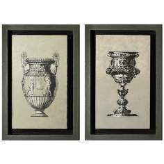 Gray Shadowboxed Goblet and Urn Wall Art