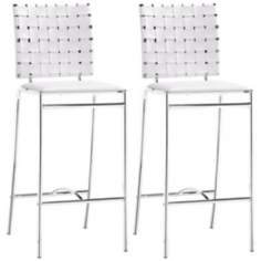 Set of 2 Zuo Criss Cross White Counter Stool