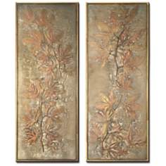Oak Leaf Set of 2 Decorative Wall Art Panels