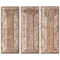 Set of 3 Exhibition Framed Ancient Pillars Wall Art Pieces