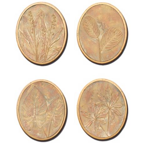 Flower and Fern Set of 4 Decorative Wall Art Medallions