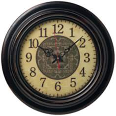 "Beige and Walnut 17 3/4"" Wide Alphanumeric Wall Clock"