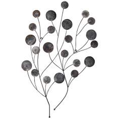 "Black with Silver Tree Sprig Metal 31"" High Wall Decor"