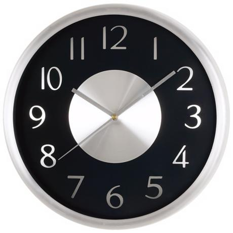 "Silver and Black Round 11 3/4"" Wide Wall Clock"