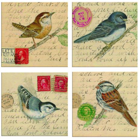 Hindostone Set of Four Birds on Letters Stone Coasters