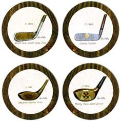 Hindostone Set of Four Antique Golf Clubs Stone Coasters