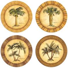 Hindostone Set of Four Palm Trees Stone Coasters
