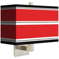 Red Stripes Rectangular Giclee Shade Wall Sconce