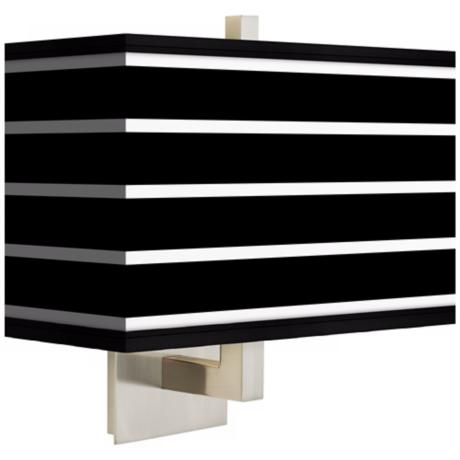 Bold Black Stripe Rectangular Giclee Shade Wall Sconce