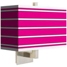 Bold Pink Stripe Rectangular Giclee Shade Wall Sconce