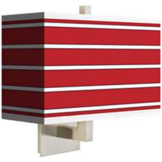 Bold Red Stripe Rectangular Giclee Shade Wall Sconce