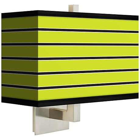 Bold Lime Green Stripe Rectangular Giclee Shade Wall Sconce