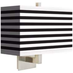 Black Horizontal Stripe Rectangular Giclee Shade Wall Sconce