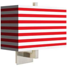Red Horizontal Stripe Rectangular Giclee Shade Wall Sconce