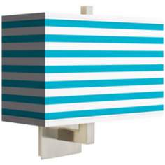 Aqua Horizontal Stripe Rectangular Giclee Shade Wall Sconce