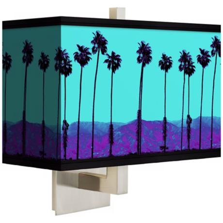 Palm Tree Haze Rectangular Giclee Shade Wall Sconce