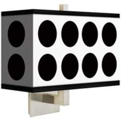 Black Orbs Rectangular Giclee Shade Wall Sconce