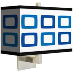 Blue Rectangles Rectangular Giclee Shade Wall Sconce