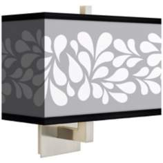 White Splash on Gray Rectangular Giclee Shade Wall Sconce