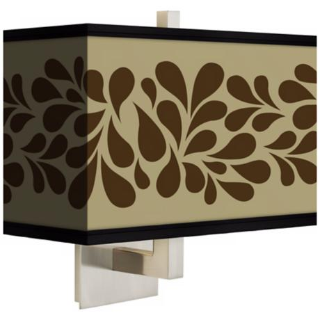 Brown Splash on Tan Rectangular Giclee Shade Wall Sconce