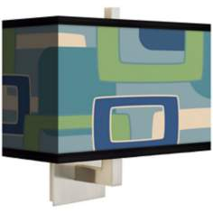 Retro Rectangles Green Blue Rectangular Giclee Shade Wall Sconce