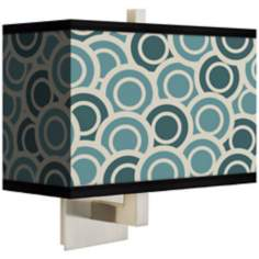 Blue Green Circlets Rectangular Giclee Shade Wall Sconce