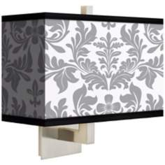 Gray Flourish Rectangular Giclee Shade Wall Sconce
