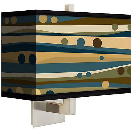 Dots and Waves Rectangular Giclee Shade Wall Sconce