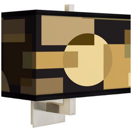 Earthy Geometrics Rectangular Giclee Shade Wall Sconce